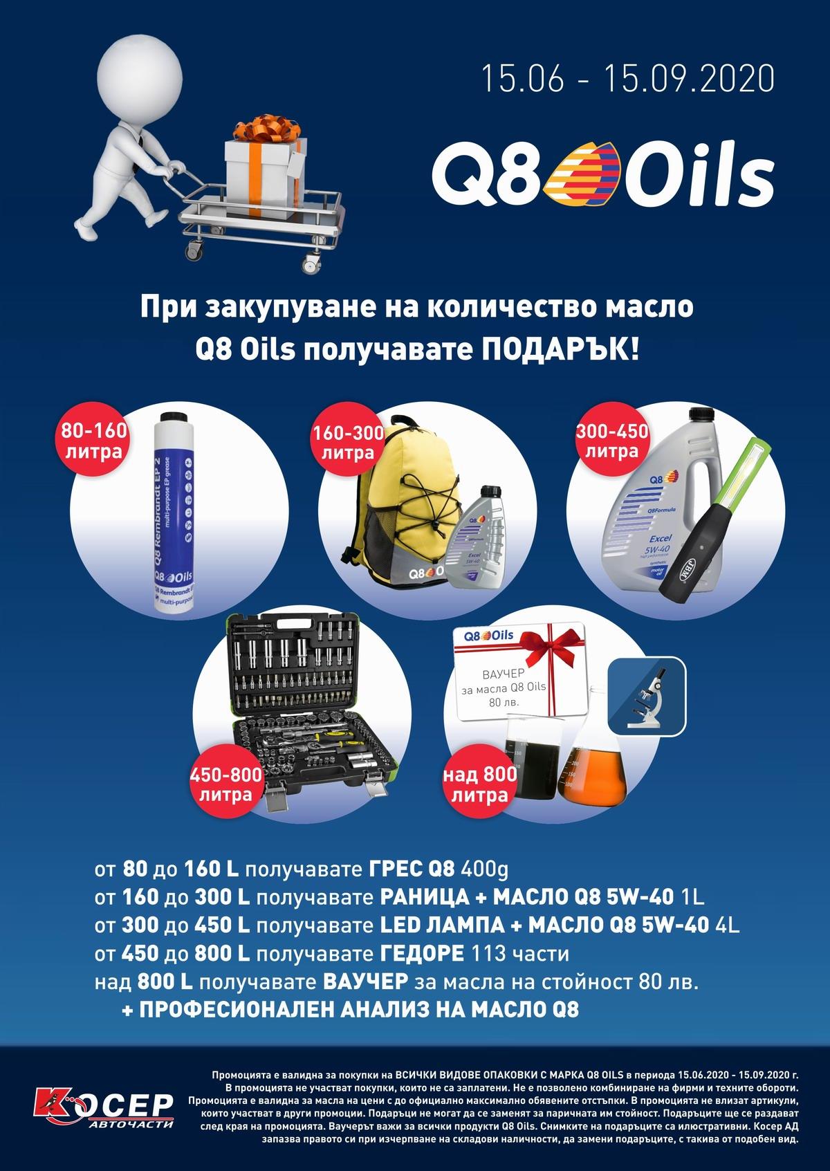 Промоция Q8 Oils, 15.06.2020 - 15.09.2020